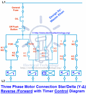 Three Phase Motor Connection StarDelta (YΔ) Reverse