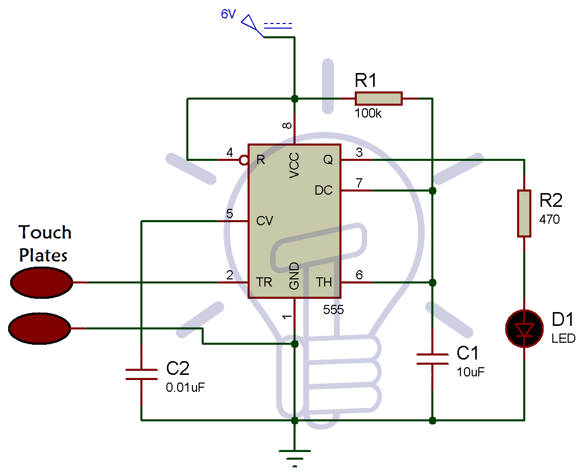 Simple Touch Sensitive Switch Circuit Using 555 Timer