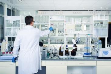 Lab Worker Wearing Gloves
