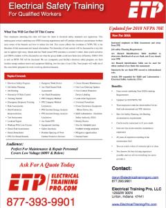 NFPA 70E Training - Arc Flash - OSHA - Electrical Training Pro