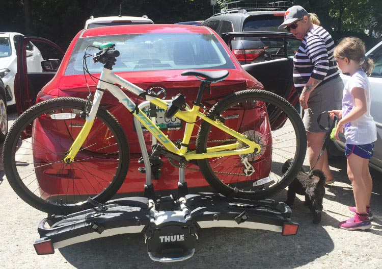 Because of the ramp style, you can carry any bike on the Thule 9032 Easy Fold Bike Rack, regardless of size or frame shape. For example, we also transport our grandkids' bikes on it. Thule 9032 Easy Fold Bike Rack Review