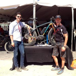 Claus Fleischer and Brett Thurber with the Felt fat tire prototype at Interbike 2013
