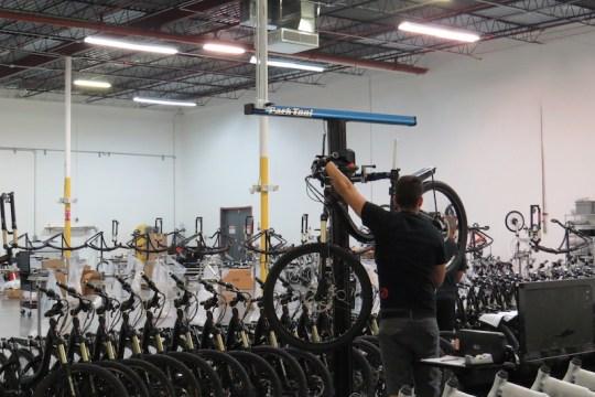 ProdecoTech is using the mechanical Park e-bike stands; high tech!