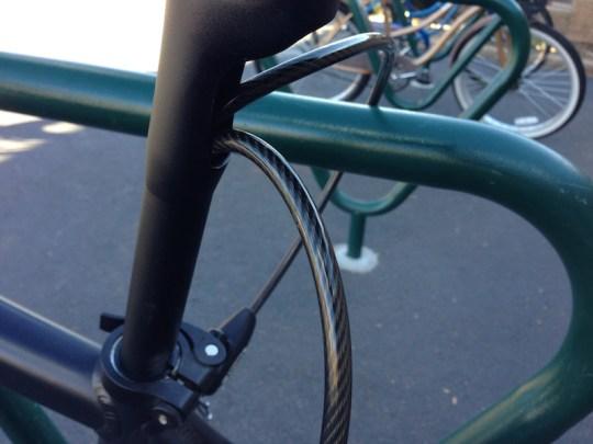 Interlock seatpost lock close up
