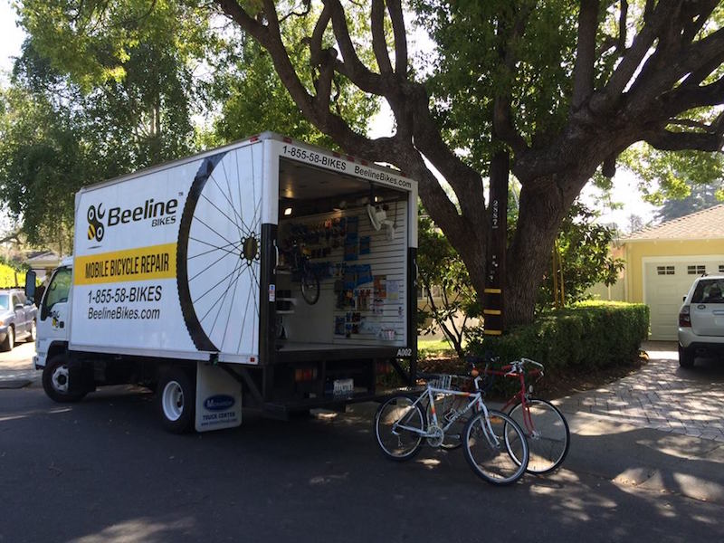 beeline mobile bike shop with bikes