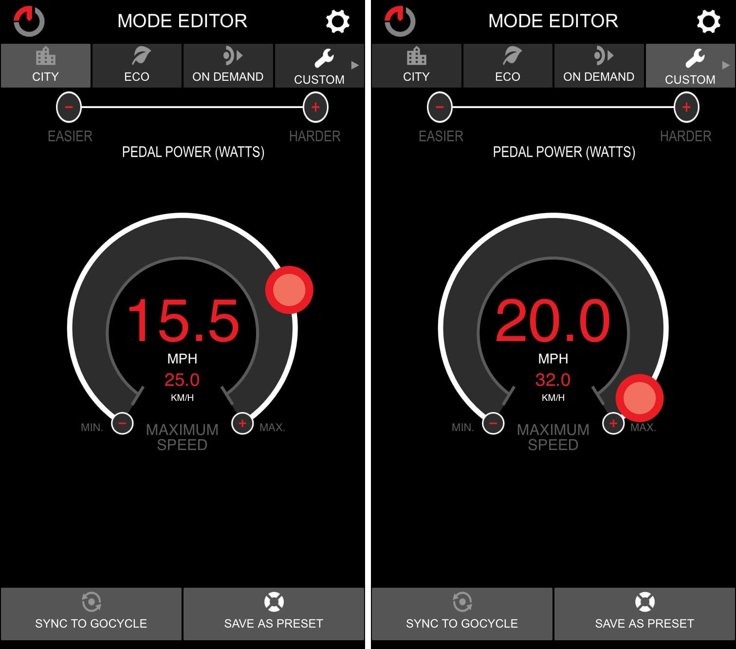 Max MPH settings in GocycleConnect App