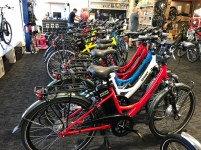 A colourful lineup of Ezee Bikes (photo Wai Won Ching)