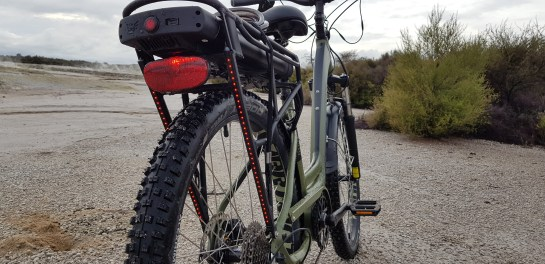 Rear mounted battery, bling LEDs add visibility