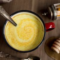 Hot honey rum milk with turmeric
