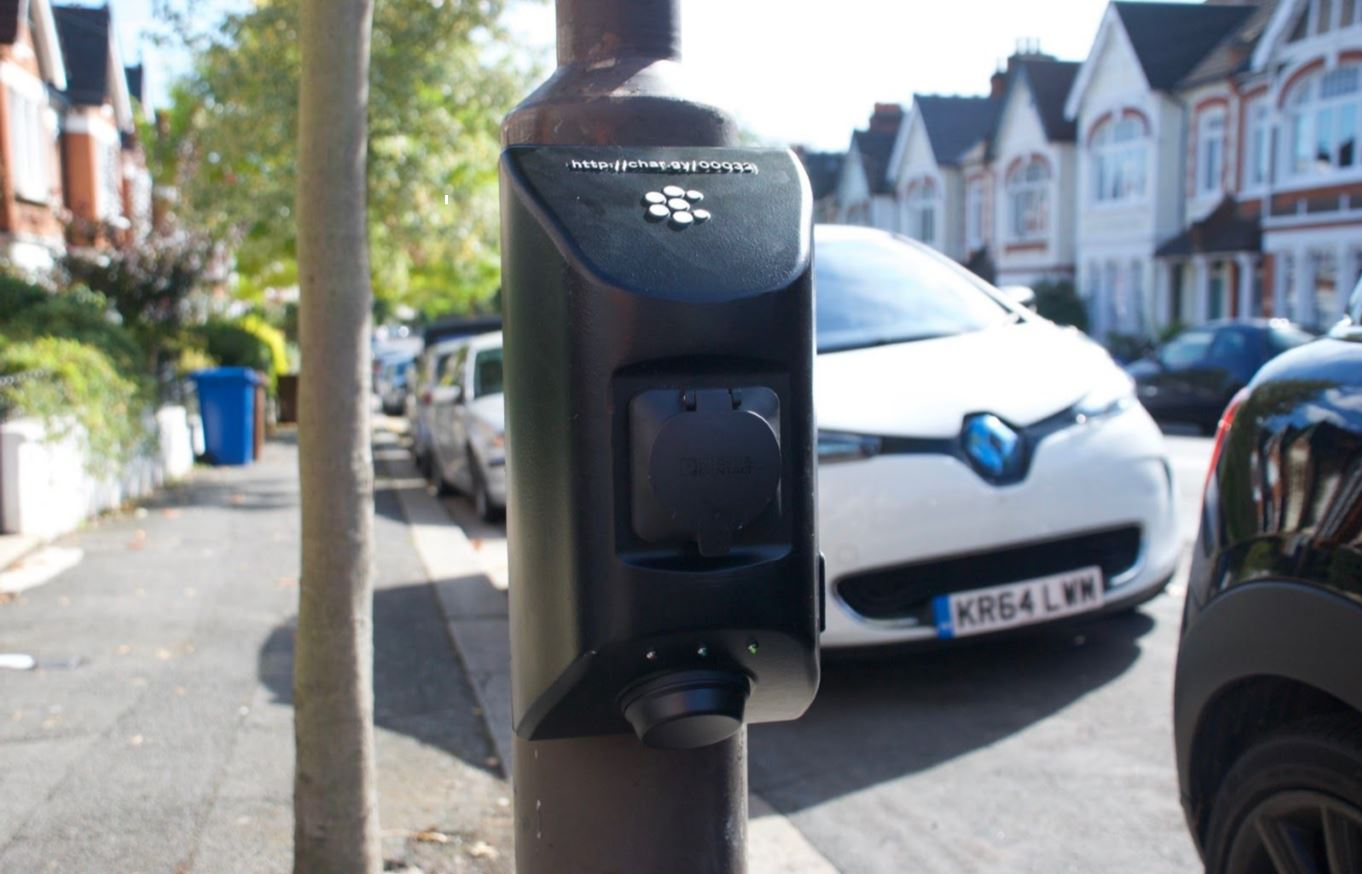 ECC UK Char.gy Back Pack Lamp Post mounted EV charging solution