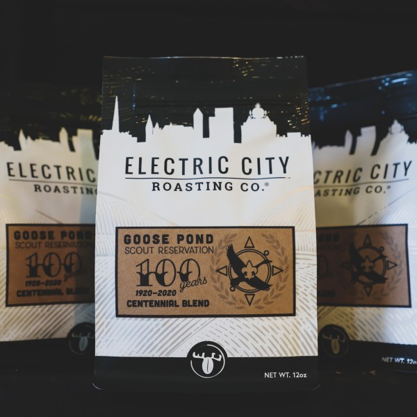 two bags of specialty coffee from electric city roasting and the boy scouts of america