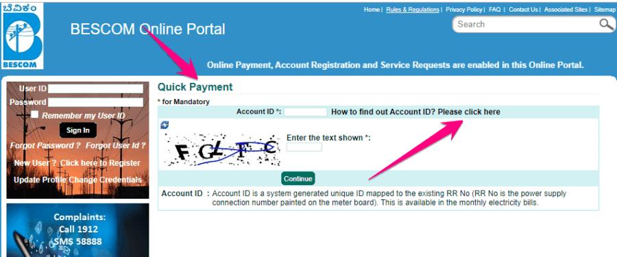 Bescom Bill Quick Payment