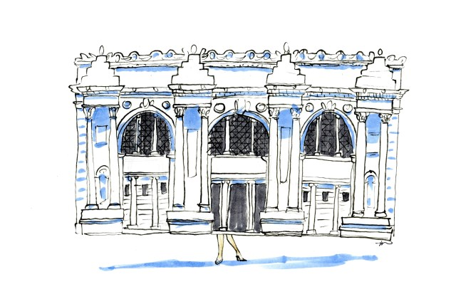 Illustration of the Met with tiny legs coming out the bottom