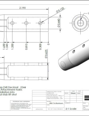 Image of horizontal lift strut end fitting