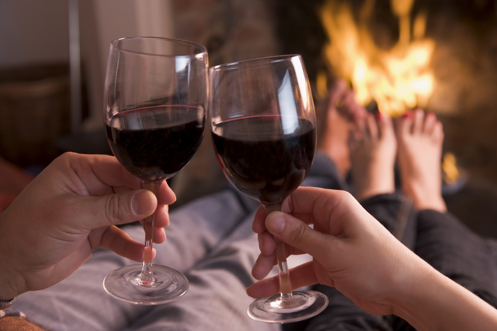 christmas fire with wine