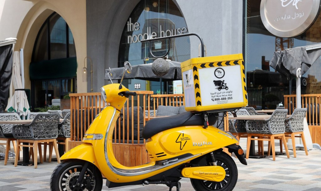 electric bike branded with The Noodle House