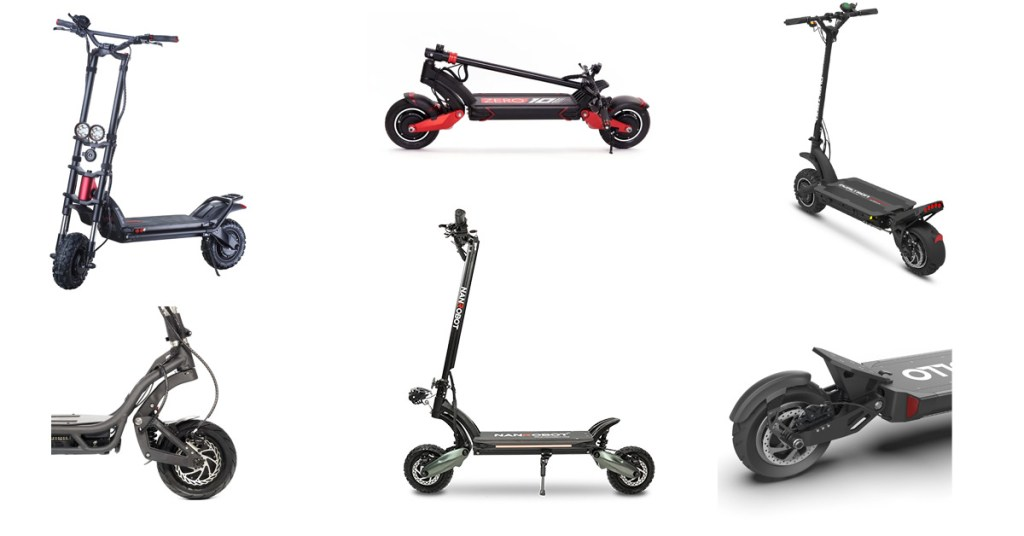 photo collage of different off-road electric scooters