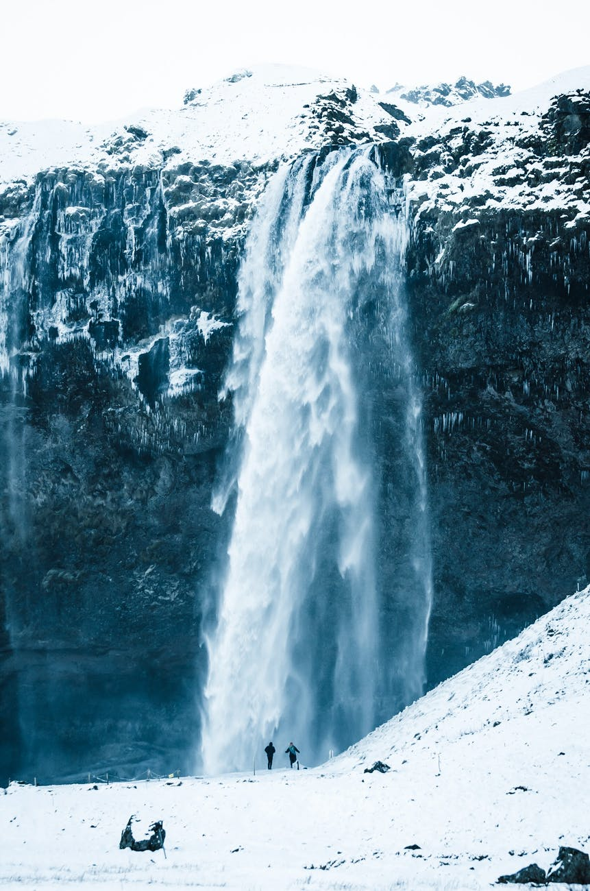 Huge waterfall in a cold environment