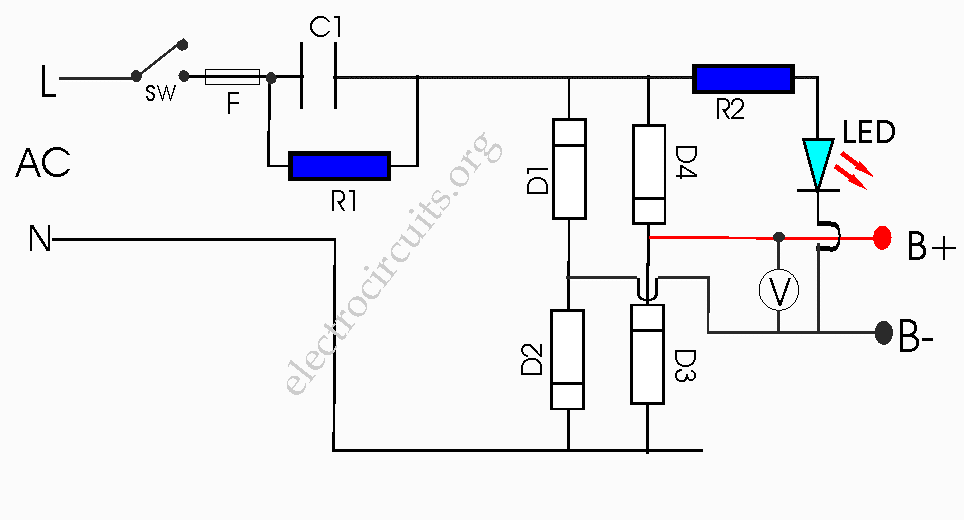Transformerless battery charger circuit