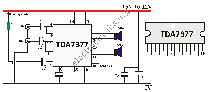 TDA7377 amplifier circuit