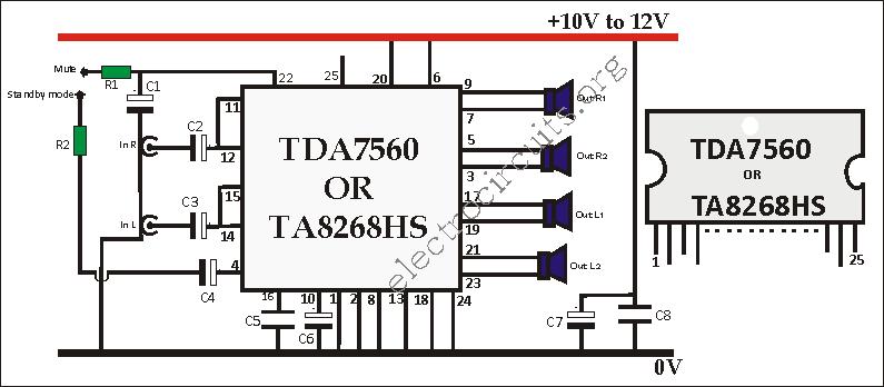 TRA7560 amplifier circuit diagram