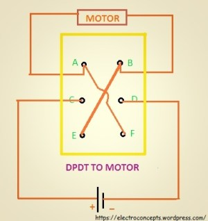 How to control a DC motor using DPDT switch ? | electroconcepts