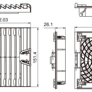 VENTILADOR CON FILTRO 152X152mm 220V 52m3/h 19W