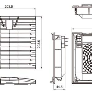 VENTILADOR CON FILTRO 204X204mm 220V 170m3/h 45W