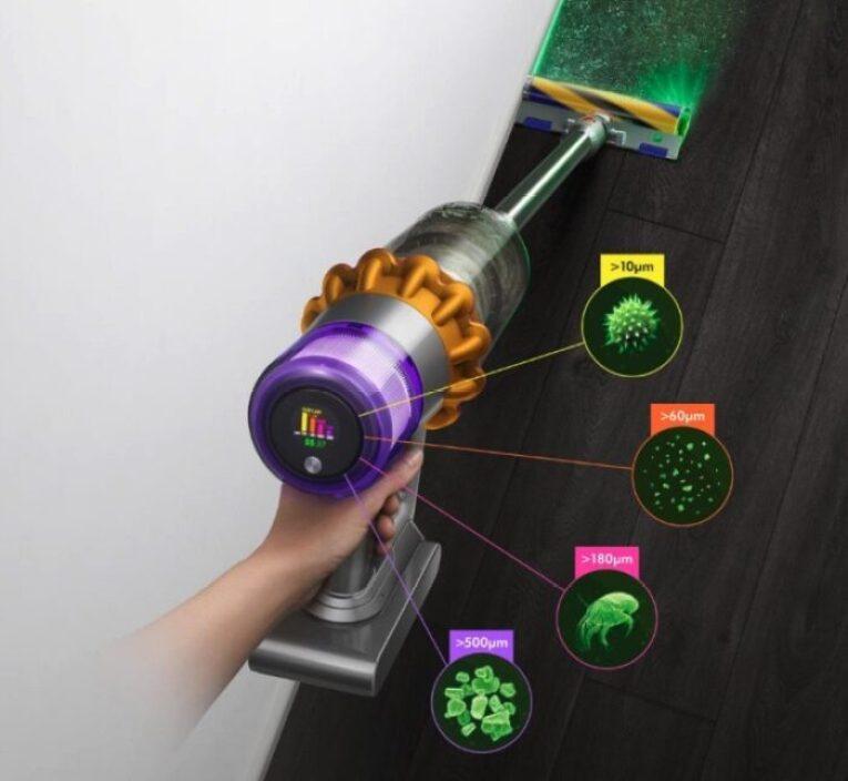 dyson V15 lcd sensor de particulas