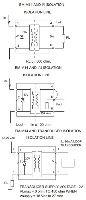 Electromen Em M14 Loop Powered 4 20 Ma Galvanic Isolator
