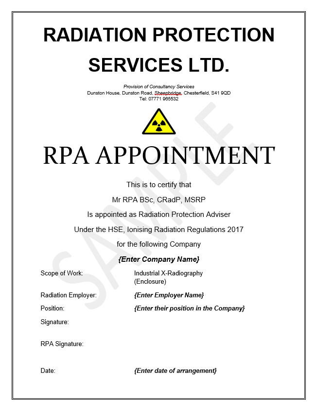 Radiation Protection Appointment RPA IRR17 Certificate