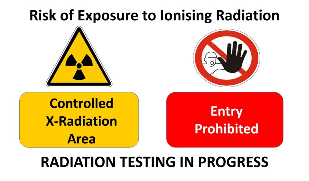 Radiation testing in progress - ionising radiation test