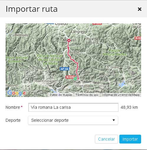 previsualización importar ruta