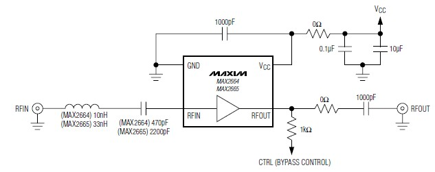 VHF UHF Low-Noise Amplifier Circuit Using MAX2664 MAX2665