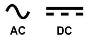 A.C, symbol and D.C symbol