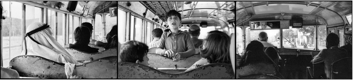 Photo triptych showing the backs of heads of people on a bus