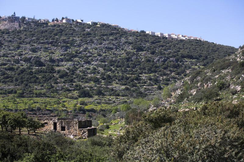 A settlement above a farm house
