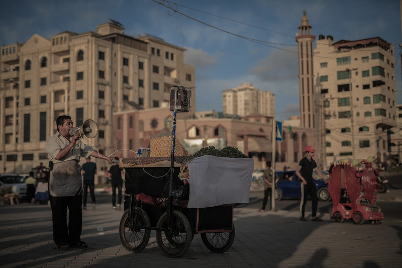 A vendor touts for business on a Gaza street