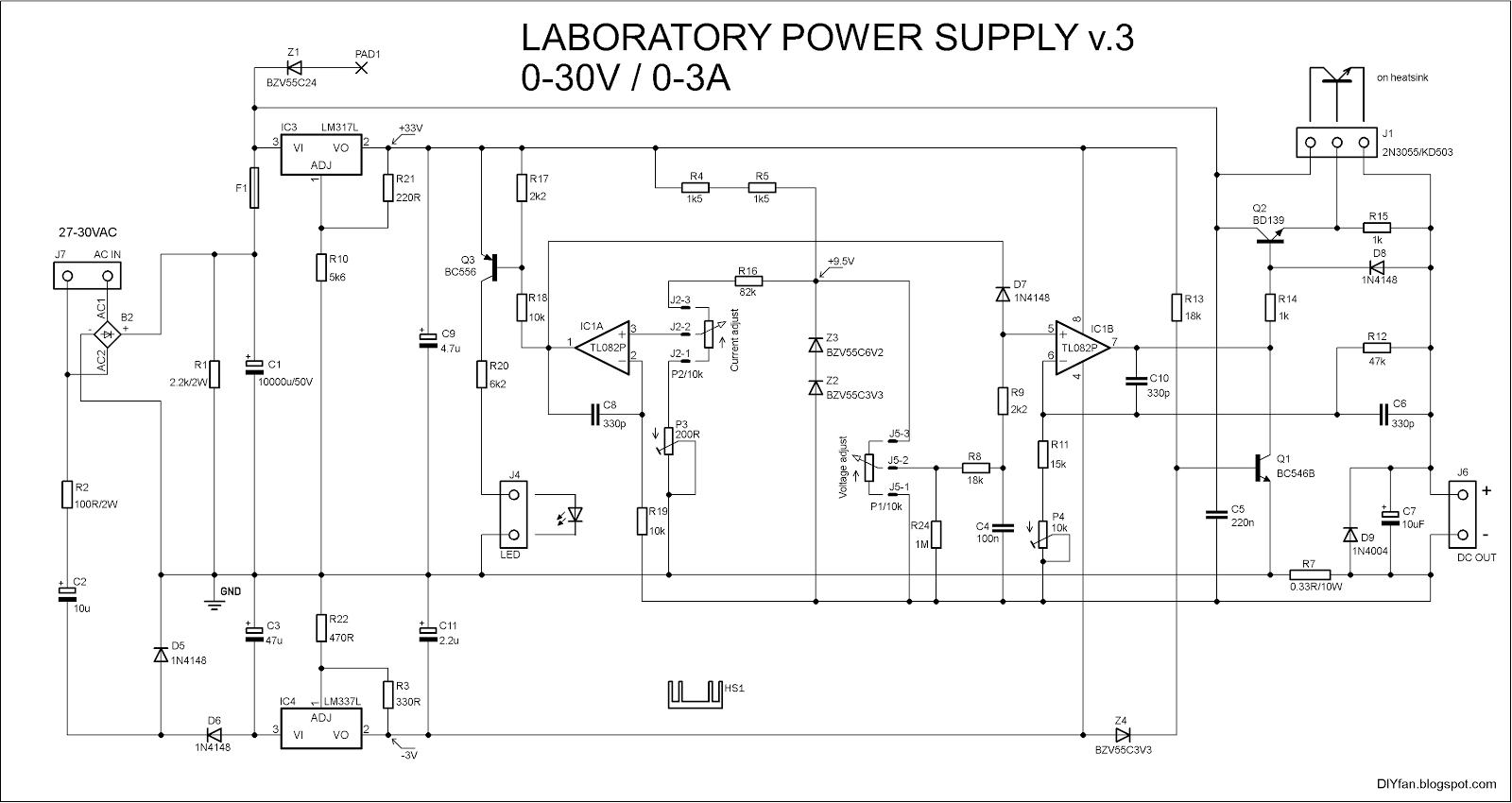 Adjustable Lab Power Supply 0-30V 0-3A