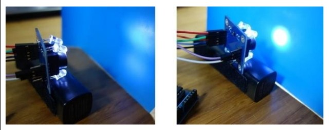 الشكل (6): توضُّع الجسم الأزرق على مسافات مختلفة من الحسّاس