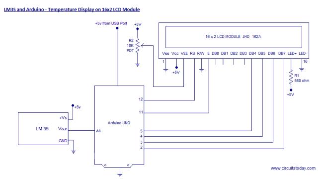 عرض درجة الحرارة على LCD باستخدام LM35 والأردوينو