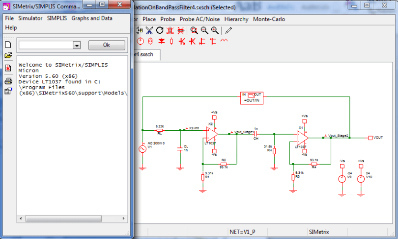 Tools That Can be Used in Control System Design: circuit simulation using simetrix