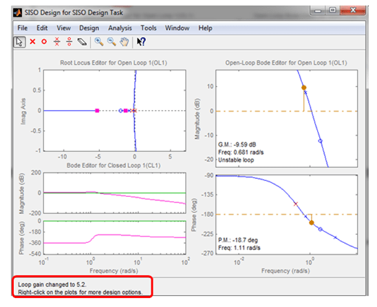 control tuning using root locus editor in matlab