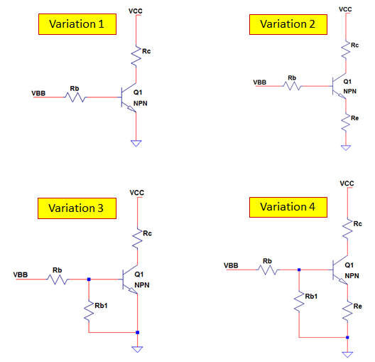 Common NPN transistor connections