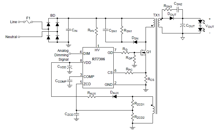 Isolated LED driver circuit using flyback