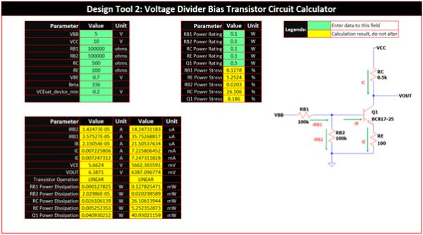 Voltage Divider Bias Design Template