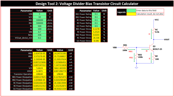 Voltage Divider Bias Design Template