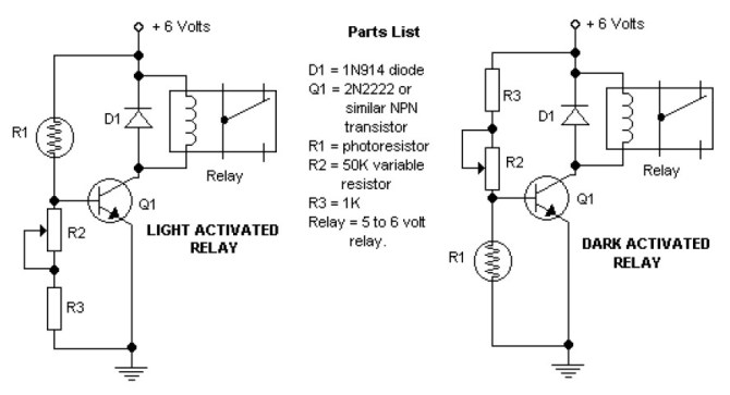 dark and light activated relay  electronic schematic diagram