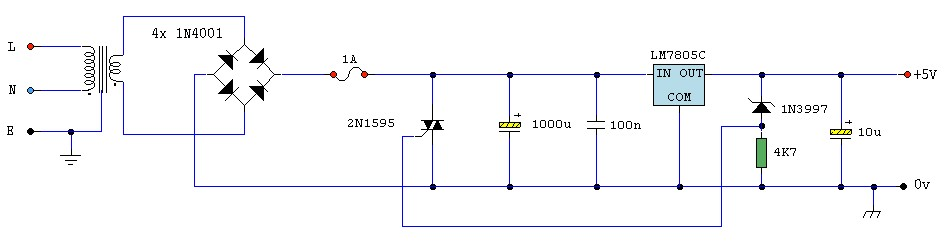 5v dc regulated power supply with short circuit protection5v regulated power supply with overvoltage protection
