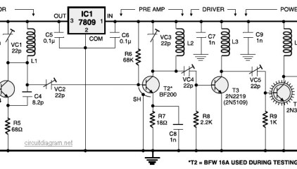 Three Stage 9V FM Transmitter | Electronic Schematic Diagram on
